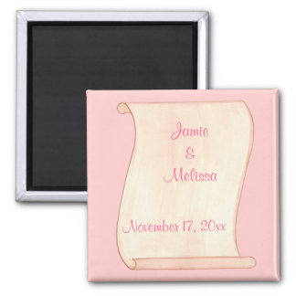 Pink & Brown Scroll Save the date Wedding Magnets