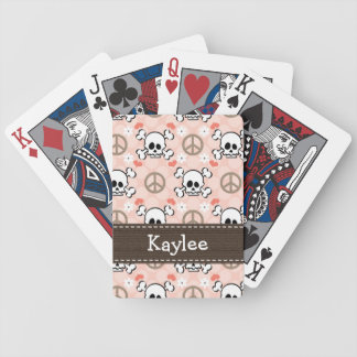 Pink Brown Skull and Crossbones Bicycle Playing Cards