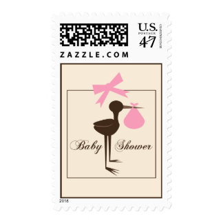 Pink & Brown Sophisticated Stork Baby Shower Postage