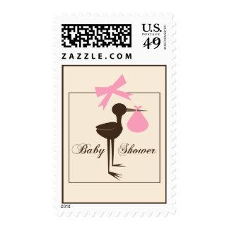 Pink & Brown Sophisticated Stork Baby Shower Stamp