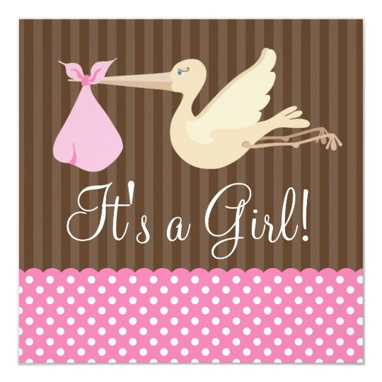Pink Brown Stork Dots Girl Baby Shower Card