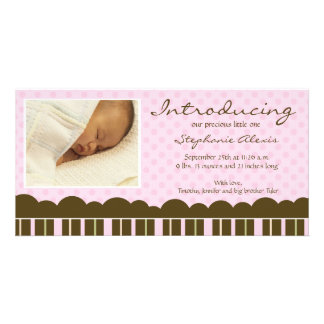 Pink brown stripes polkadots new baby announcement