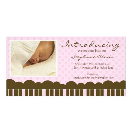 Pink brown stripes polkadots new baby announcement picture card