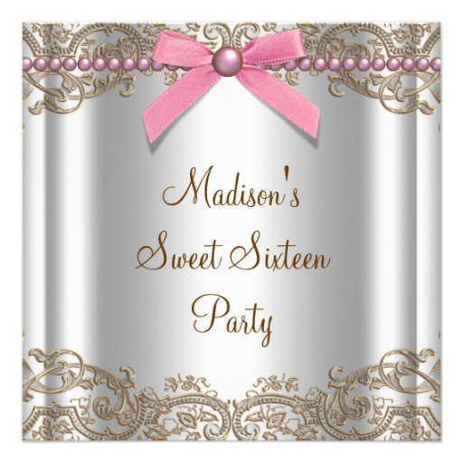 Personalized girls 13 teen birthday party invitations pink brown sweet 16 birthday party custom invitations filmwisefo
