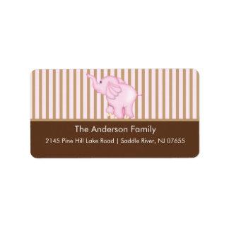 Pink & Brown Sweet Baby Elephant Address Label