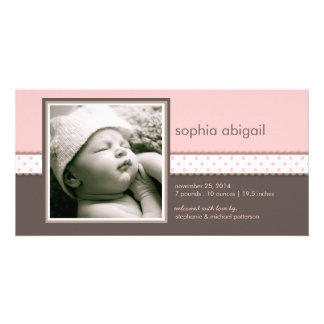 PInk | Brown Sweet Baby Girl Birth Announcement