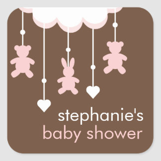 Pink & Brown Sweet Baby Girl Mobile Stickers