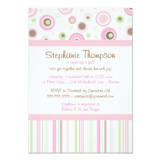 Pink Brown Sweet Girl Polka Dot Baby Shower 5x7 Paper Invitation Card