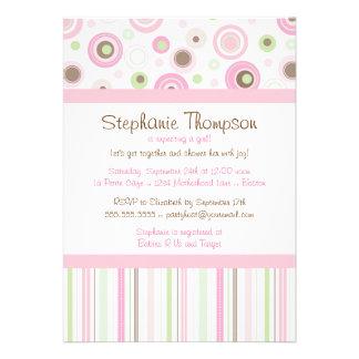 Pink Brown Sweet Girl Polka Dot Baby Shower Invite