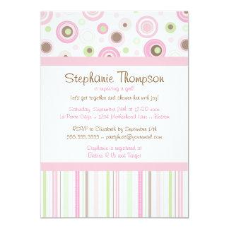 Pink Brown Sweet Girl Polka Dot Baby Shower 5x7 Paper Invitation Card
