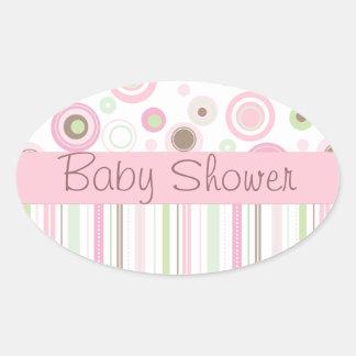 Pink Brown Sweet Girl Polka Dot Baby Shower Oval Sticker