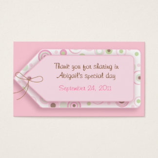 Pink Brown Sweet Girl Polka Dot Favor Tags