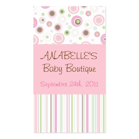 Sweet Pink and Brown Polka Dots and Stripes Baby Boutique Business Cards