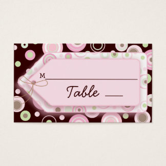 Pink Brown Sweet Girl Polka Dot Seating Cards