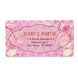 Pink & Brown Swirls - Custom Text Label