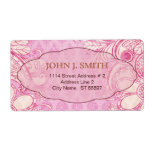 Pink & Brown Swirls - Custom Text Shipping Label