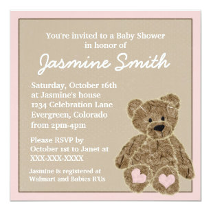 Rocking horse theme gifts on zazzle pink brown teddy bear baby shower invitations negle Gallery