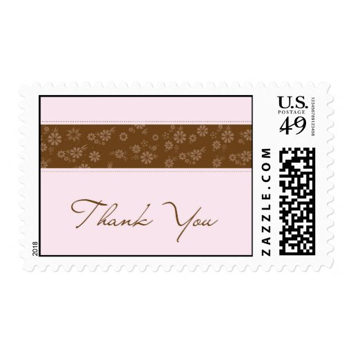 Pink & Brown Thank You Postage Stamp