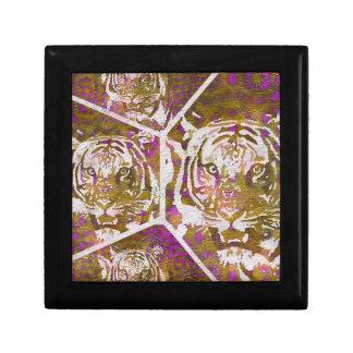 Pink Brown Tiger Collage Keepsake Box