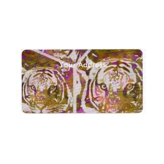 Pink Brown Tiger Collage Label