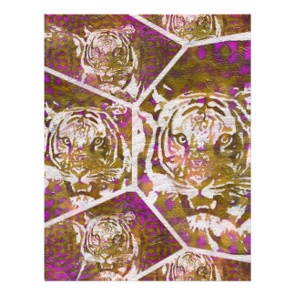 Pink Brown Tiger Collage Letterhead