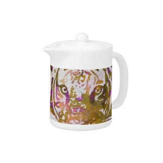 Pink Brown Tiger Collage Teapot