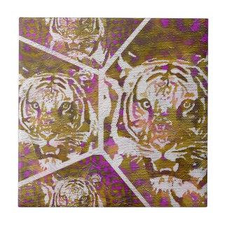 Pink Brown Tiger Collage Tile