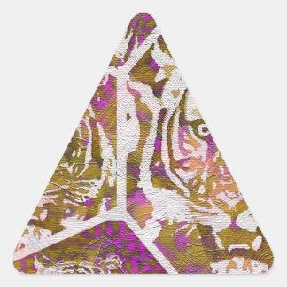 Pink Brown Tiger Collage Triangle Sticker