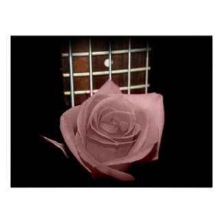 Pink brown tint rose against five string bass fret print