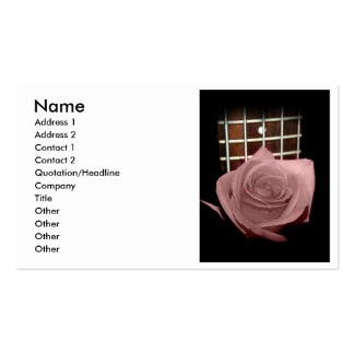Pink brown tinted rose bloom 5 string bass fret business cards