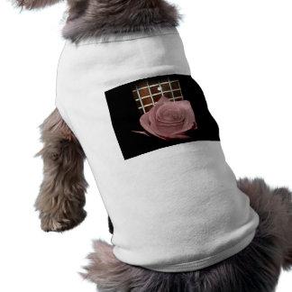 Pink brown tinted rose bloom 5 string bass fret dog t-shirt