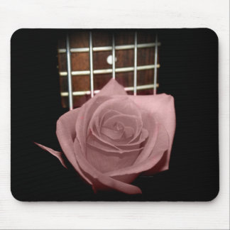 Pink brown tinted rose bloom 5 string bass fret mousepads