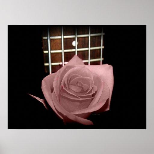 Pink brown tinted rose bloom 5 string bass fret print