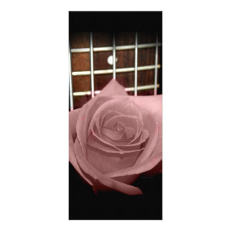 Pink brown tinted rose bloom 5 string bass fret customized rack card