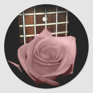 Pink brown tinted rose bloom 5 string bass fret stickers
