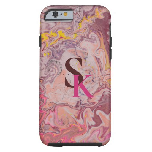 Pink brown trendy marbling design tough iPhone 6 case