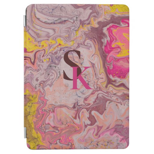 Pink brown trendy marbling design iPad air cover