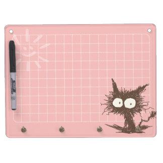 Pink Brown Unkempt Kitten GabiGabi Grid Dry Erase Board With Keychain Holder