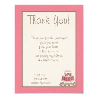 Pink/Brown Wedding Cake Flat Thank You Card
