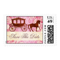 Pink & Brown Wedding Horse Carriage-Save The Date Postage