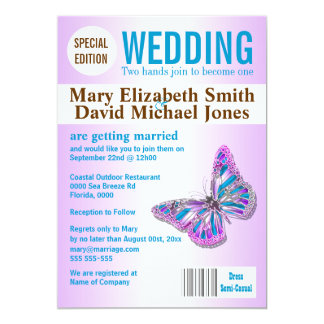 Pink brown wedding magazine PERSONALIZE Personalized Announcement