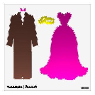 Pink brown wedding tux dress wall decals