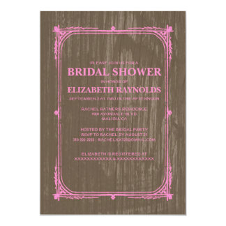 Pink Brown Western Barn Wood Bridal Shower Invites Personalized Invitations