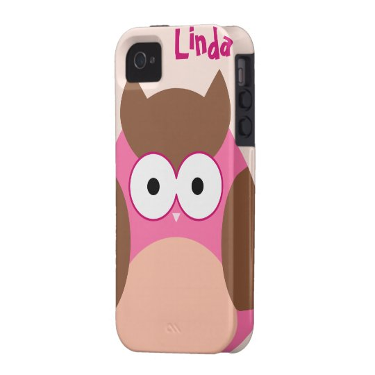 Pink & Brown Whimsical Fat Owl iPhone 4/4S Case