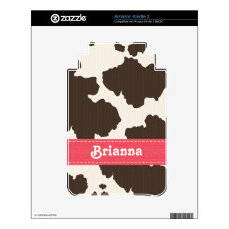 Pink Brown White Cow Print Kindle 3 Skin