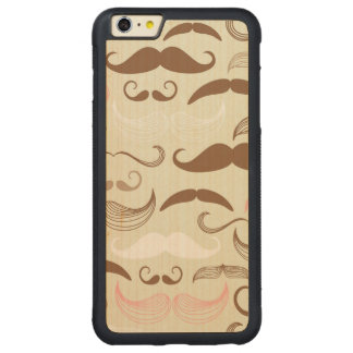 Pink, Brown & White Mustache Pattern Carved Maple iPhone 6 Plus Bumper Case