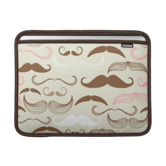 Pink, Brown & White Mustache Pattern Sleeve For MacBook Air