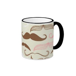Pink, Brown & White Mustache Pattern Coffee Mug