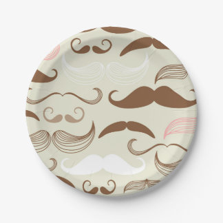 Pink, Brown & White Mustache Pattern Paper Plate