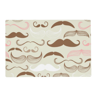 Pink, Brown & White Mustache Pattern Placemat